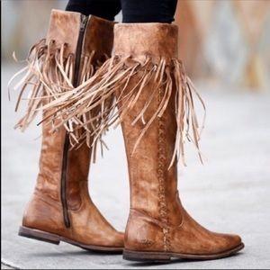 398.00 BED STU Leather Fringe boots NWT size 8